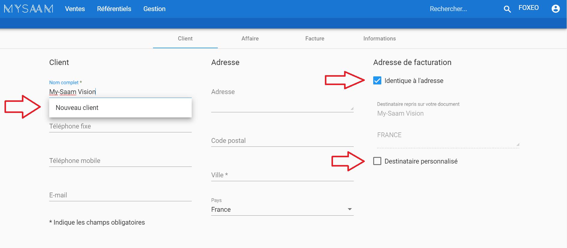 Information clients-base de données clients